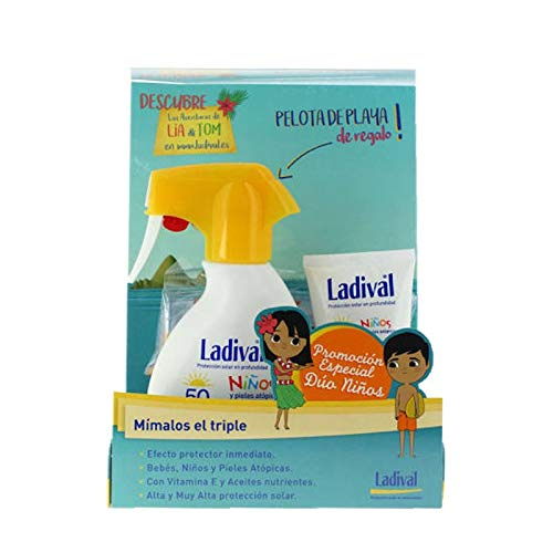 Pack Ladival enfants : Spray Lait SPF50 (haute) 200 ml ; lait SPF50 + très haute) 75 ml ; Ballon de plage de cadeau