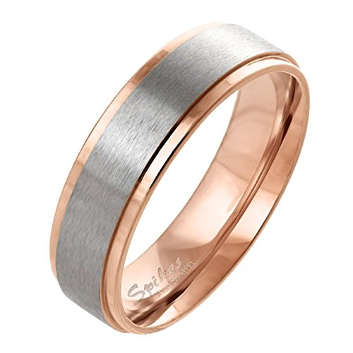 Paula & Fritz gebürsteter Edelstahlring Damen-ring Verlobungs-ring Freundschaftsring Herrenring Partnerring Stepped Edge roségold 63 (20)