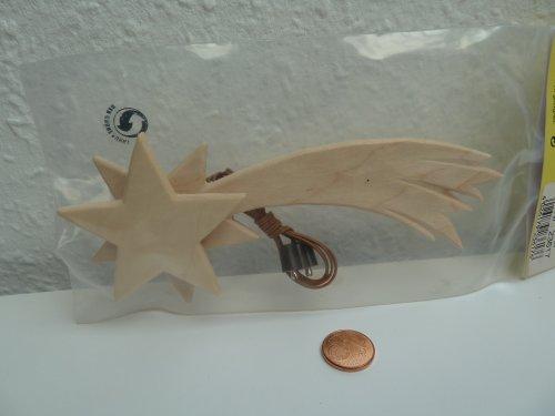Komet Stern aus Holz für Krippe Weihnachtskrippe Krippenstall Krippenzubehör mit Beleuchtung 3,5 V