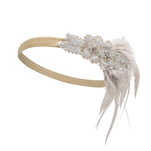 PrettyGuide Damen brüllen 20er Perlen Feder Stirnband Art Deco Flapper Kopfschmuck Gold