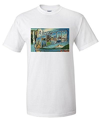 Aurora, Oregon - Large Letter Scenes (Premium T-Shirt)