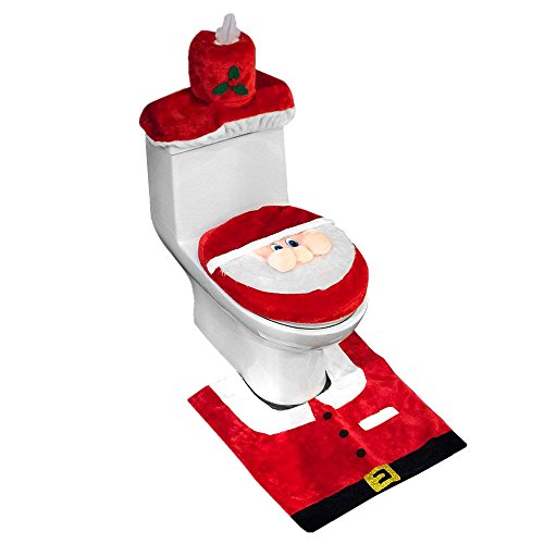 D-FantiX Copri WC Copertura Bagno set Regalo, sedile WC coperchio e tappeto e Scatola del Tessuto, 3 decorazioni di Natale Babbo Misura perfetta per il WC