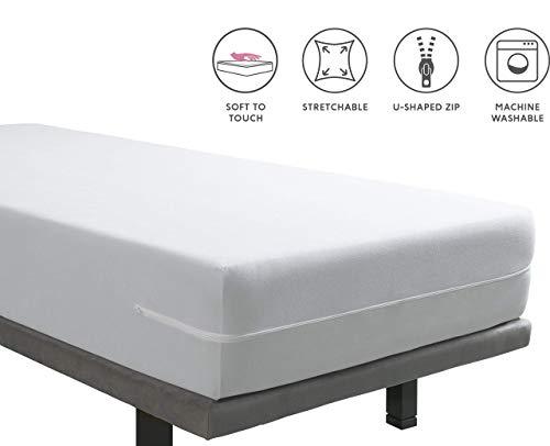 Tural - Elastischer Matratzenbezug aus seidig weichem Mikrofaser-Frottee. Größe 90 x 190/200 cm | Matratzenschoner mit Reißverschluss | Für Matratzen mit Einer Höhe von 30 cm