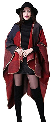 Shineflow - Poncho - Cappotto -  donna Red Grid