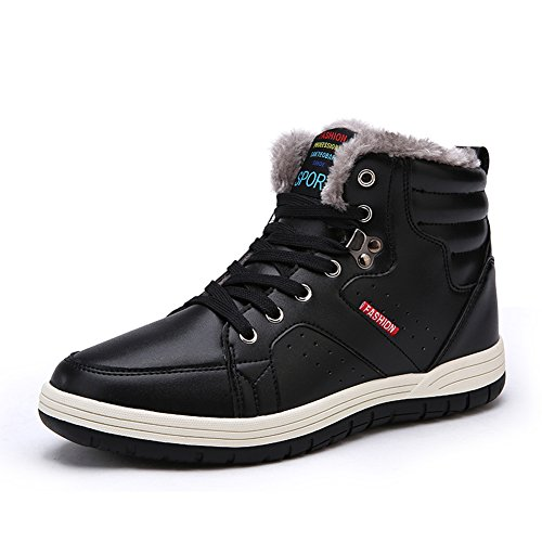 Laiwodun Men's Sneakers Snow Boots Warm Leather Fur Lined Non Slip Casual Outdoor Boots High Rise Skateboarding Shoes