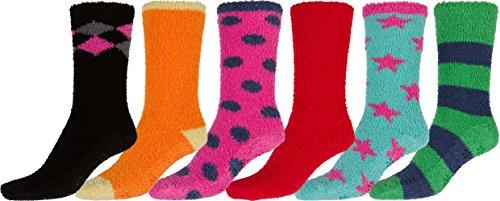 Sakkas 16802-pack2 Super Soft Anti-Rutsch-Fuzzy Crew Socken Wert sortiert 6er Pack