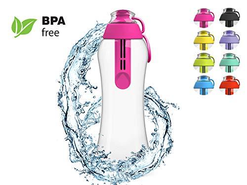 PearlCo Trinkflasche mit Wasserfilter 0,5 Liter (pink) | Filterflasche BPA-Frei | Schule, Sport, Wasser, Kinder, Unterwegs