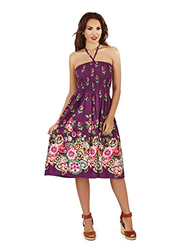 Martildo Fashion, Dames 3 en 1 Coton Vacances Été Robe Violet