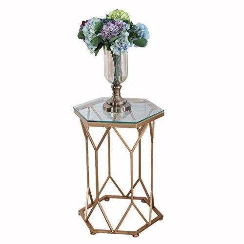 LJF Eisen Couchtisch, Glas Marmor Kleine Geometrische Tabelle Kreative Möbel Metall Halterung Couchtisch 46 * 60 cm Schick und praktisch (Farbe : Gold-#1)