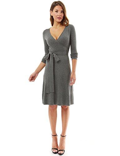 PattyBoutik Damen Strickkleid, langärmlig mit V-Ausschnitt und Gürtel (grau 40/M)