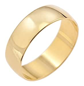 Kareco Unisex Wedding Ring, 9 Carat Yellow Gold D Shape, 6mm Band Width,Size J