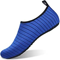 Water Shoes Mens Womens Aqua Shoes Beach Surf Diving Swim Barefoot Skin Shoes Quick Drying Lightweight Durable Rubber Sole (UK6.5-7.5/250-255mm, Blue)