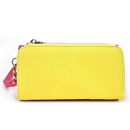Kroo d'embrayage portefeuille avec dragonne et sangle bandoulière pour LG G4Beat/Bello II Multicolore - Rouge/vert Multicolore - Magenta and Yellow