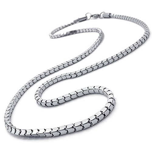Collar - SODIAL(R) Joyeria Collar de hombres, Collar de acero inoxidable, plata, 3 mm de anchura, 55 cm de longitud