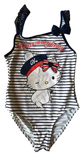 Charmmy Kitty Badeanzug mit Steinchen besetzt, 2 Modelle (128 (8 Jahre), Blau/Weiß gestreift)
