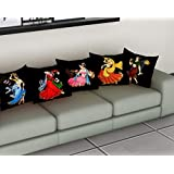 METRO-FASHION Polyester 120 TC Cushion Cover, 16 x 16 Inch, Multicolour, 5 Pieces