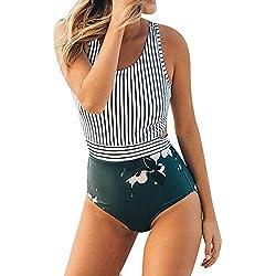 VECDY Bañador 2019 Moda Sexy Mujer Tallas Grandes Rayas con Cremallera Vendaje Bikini Mono Traje De Baño Ropa De Playa Ropa Interior(Verde,S)