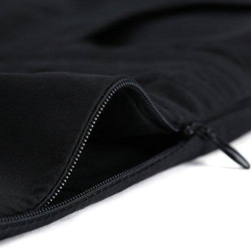 ZhiYuanAN Donna Gonna A Palloncino Di Vita Alta Con Due Tasche Taglia Larga Tinta Unita Pieghe Gonne Campana Casual A Linea Skirt Spessa Nero