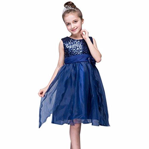 Elecenty Mädchen Prinzessin Kleid,Baby Pailletten Mesh Hochzeitskleid Partykleid Kinder Blumen...