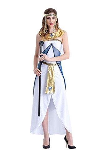 Uleade Halloween Kostüm Griechische Göttin Kostüm Ägyptische Königin Arabian Girl Weißes Kleid