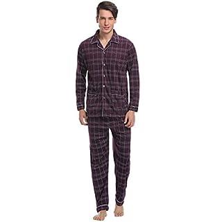 Aibrou Herren Baumwolle Pyjama Set, Winter Warm Langarm Zweiteiliger Schlafanzug Karierte Nachtwäsche Rot M