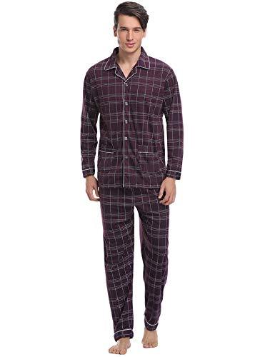 Aibrou Herren Baumwolle Pyjama Set, Karierter Zweiteiliger Schlafanzug Langarm Shirt und Pyjamahose (XXL, Rot)