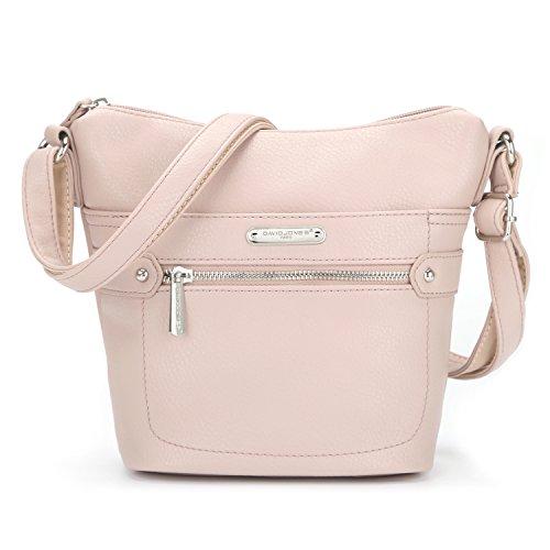 Schätze Kleine Handtaschen (David Jones - Damen Vintage Umhängetasche Reißverschluss Viele Taschen Handtasche - Leder Stil Multi Pocket Schultertasche - Kleine Tasche Klassisch Retro Look - Alltag Einfach Praktisch - Pink Rosa)