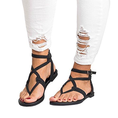 Outgobuy Damen Flip Flops Schnalle Sommer Strand Flach Gladiator Sandalen Kreuz mit Heels (42, - Toe Damen Schwarz Open Schuhe Kleid