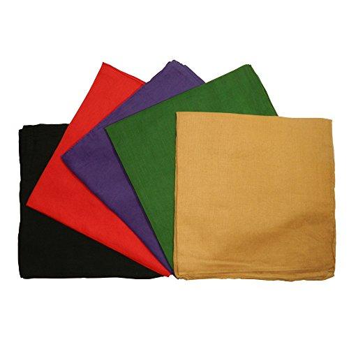 Halstuch 5er Pack 100x100cm SetA 5Farben schwarz dunkellila grün rot und camel Baumwolle uni Tuch Accessoire