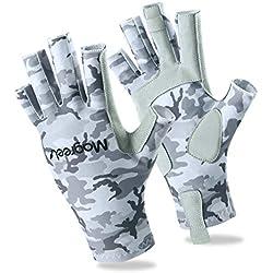 Gants de Protection pour Homme et Femme, Magreel Gants de Pêche Anti-UV, UPF 50+ Contre le Soleil pour le Travail, le Vélo, la Pêche, le Surf, les Sports en Plein Air et plus - Camouflage Gris