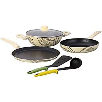 Wonderchef Picasso Cookware Set, 4-Pieces, Black and Cream (Free Silicone Spoon and Spatula worth Rupees 750)