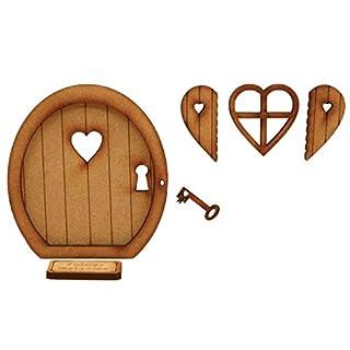 Key to My Heart Fairy Tür. dreidimensionale Selbstmontage Kit Fairy Tür Craft Holz mit Fairy Fenster, Fensterläden und Schlüssel.