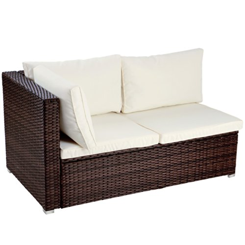 miadomodo polyrattan lounge corner sofa 2 seater outdoor garden patio wicker rattan furniture. Black Bedroom Furniture Sets. Home Design Ideas