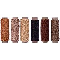 SUPVOX 6 piezas de hilo encerado para coser cuero 6 colores de hilo de cera fuerte y práctico para artesanías de cuero encuadernación reparación de zapatos costura artesanal