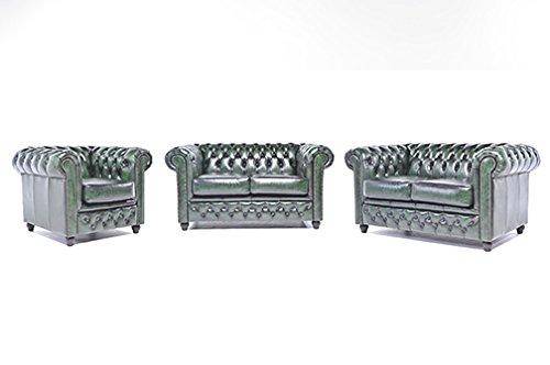 Original Chesterfield Sofas und Sessel 2/2/1 – Vollständig Hand Gewaschenes Leder – Antik Grün