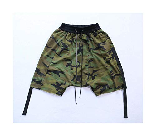 2017 Camouflage Ribbon Drop Out Men Shorts Hip Hop Justin Bieber Streetwear Military Jogger Short Army Green L