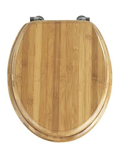 WENKO WC-Sitz Bambus, Toilettensitz, chrom-Metallbefestigung, Bambus, 34.5 x 41.5 cm, dunkelbraun