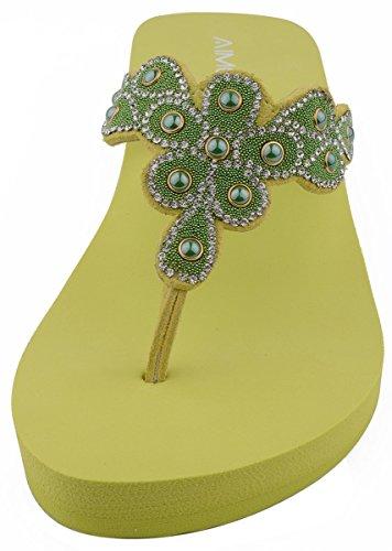 AIMONE Aviva Flip delle Donne Flop Slippers Verde