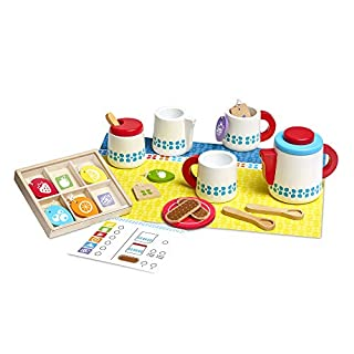 Melissa & Doug Wooden Steep & Serve Tea Set (Pretend Play, All-Wood Tea Service, Brightly coloured Tags, 30.48 cm H x 38.1 cm W x 8.89 cm L)