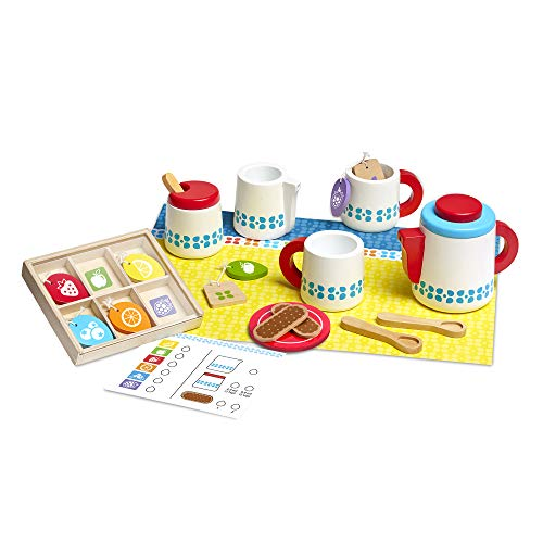 Melissa & Doug Wooden Steep & Serve Tea Set (Pretend Play, All-Wood Tea Service, Brightly coloured Tags, 30.48 cm H x 38.1 cm W x 8.89 cm L), Essential baby toys, toys for every developmental stage, baby toys, must have baby toys, the best toys for babies, gift ideas for babies, Christmas baby gift ideas, gifts for babies