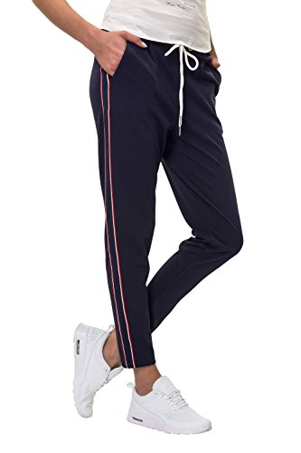 Hachiro Damen Hose Freizeithose 7/8-Hose Sportswear Style (XXL, Navy/Style 3)