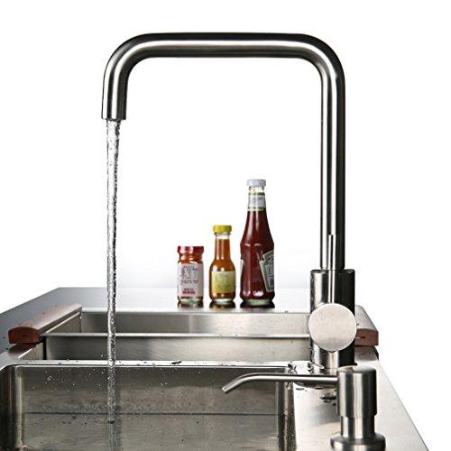 Preisvergleich Produktbild KINSE® Wasserhahn Küchenarmatur für Spülbecken, Auslauf 360° Schwenkbar, ABS Perlator, SUS304 Edelstahl