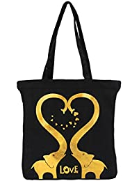 Vivinkaa Black Elephant Printed Tote Bag With Zip For Women