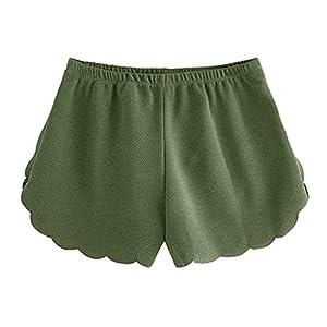 Lonshell Damen Spitze Shorts Yoga Sporthosen Sommerhosen High Waist Mode Kordelzug Kurze Hose Pants mit Taillenband Elegant Hotpants Strandshorts