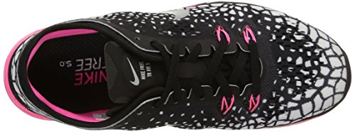 Nike - Wmns Nke Free 5.0 Tr Fit 5 Prt - , homme, multicolore (black/mtllc slvr-pnk pw-white), taille 36 multicolore (Black/Mtllc Slvr-Pnk Pw-White)