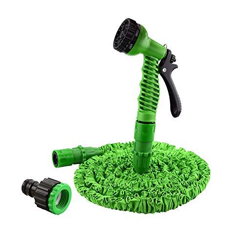 LARS360 Flexibler Gartenschlauch raktisch Dehnbarer Wasserschlauch Flexibel Schlauch ausgedehnt mit Brause für Haus und Garten zur Gartenbewässerung Rasenbewässerung (150FT - 45M, Grün)