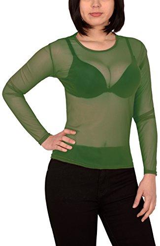 by-tex Damen Bluse Transparent Chiffon Langarm Oberteil in Vielen Farben B11