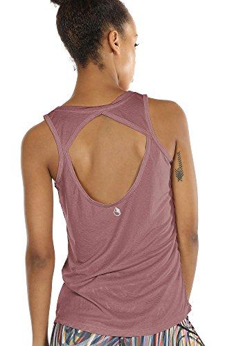 icyzone Damen Yoga Sport Tank Top - Rückenfrei Fitness Shirt Oberteil ärmellos Training Tops (S, Mocha