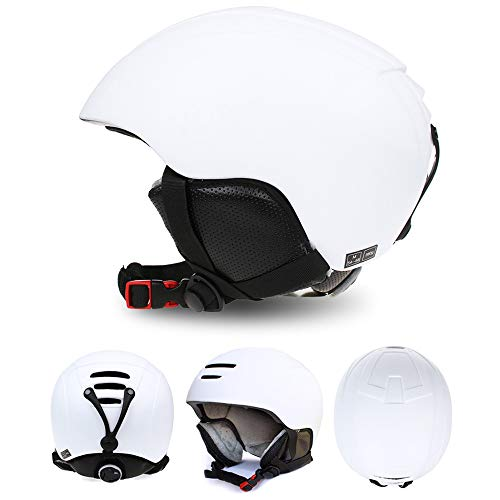 MENUDOWN Snowboard Skihelm Sicherheit Einstückig Geformt Atmungsaktiver Helm Herren Damen Skating Skateboard Skihelm,White-M(52~55CM)