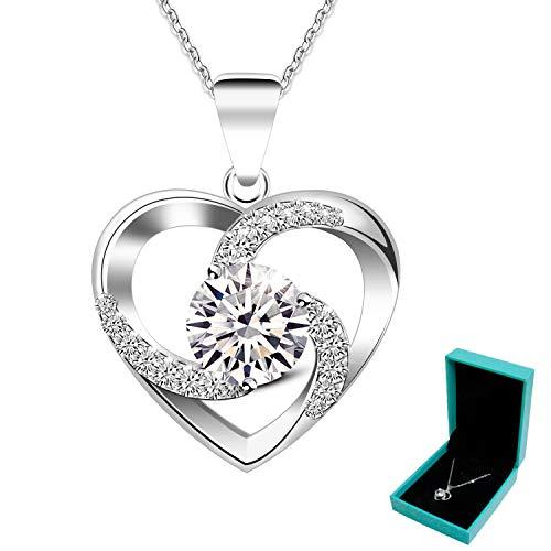 ABIsedrin Herz Halskette-925 Sterling Silber Halsketten für Frauen-Kristall-Anhänger zum Valentinstag Jubiläum